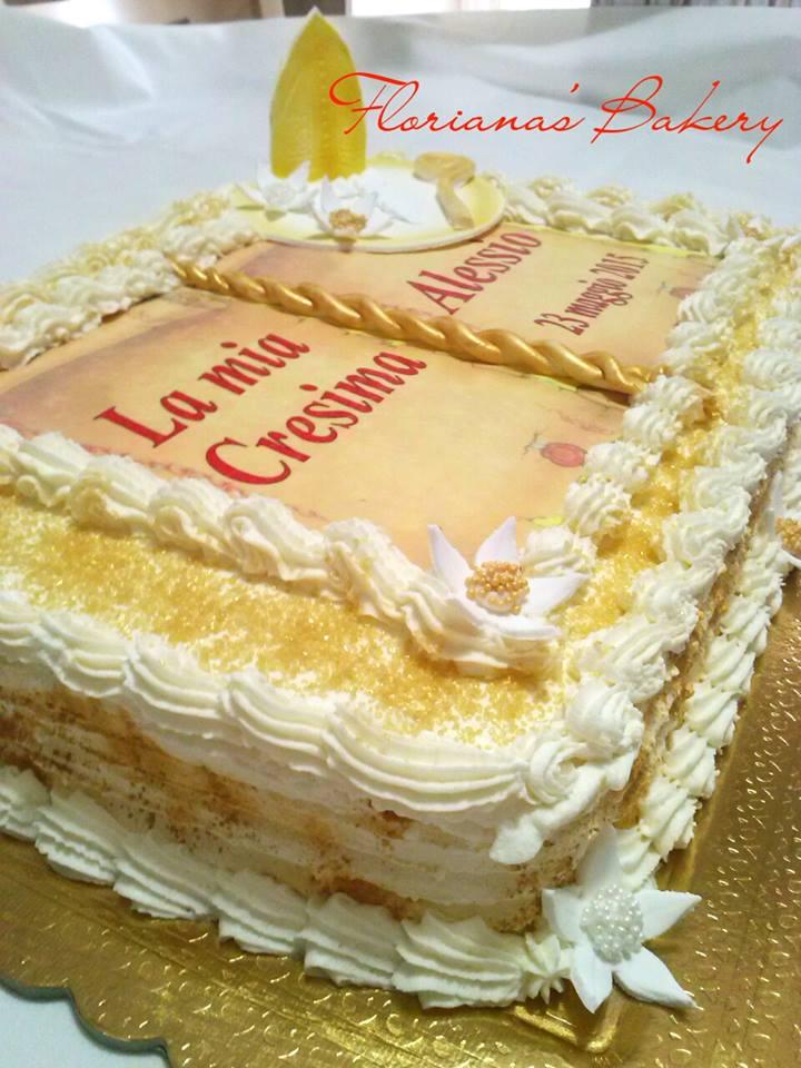Torte prima comunione e cresima floriana 39 s bakery for Decorazioni torte per cresima